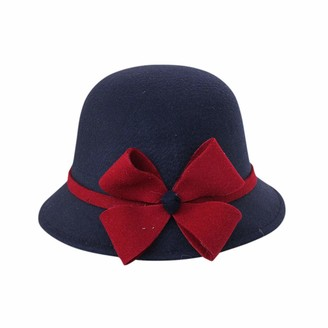 Siconght Hat SicongHT Womens 1920s Vintage Wool Felt Cloche Bowler Hat Winter Bucket Caps Party Fascinator Hats(Navy)