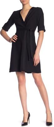 Tahari Solid Crepe Faux Wrap Dress
