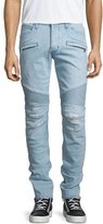 Hudson Blinder Distressed Moto Denim Jeans, Light Blue