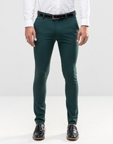 Asos Super Skinny Fit Suit Trousers In Green
