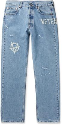 Vetements Distressed Denim Jeans - Men - Blue