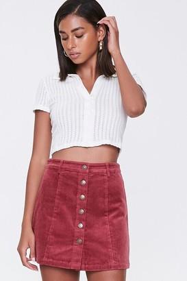 Forever 21 Corduroy Button-Front Mini Skirt