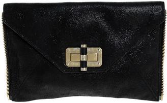 Diane von Furstenberg Black Leather 440 Gallery Uptown Clutch