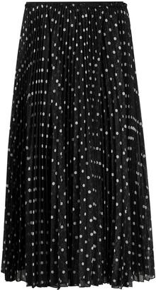 RED Valentino Polka-Dot Pleated Midi Skirt