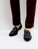 Asos Smart Loafers In Black Velvet With Snake Embroidery