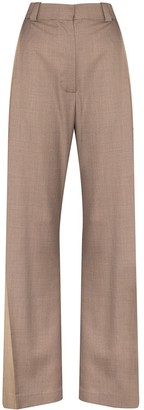 Eftychia Two-Tone Wide-Leg Trousers