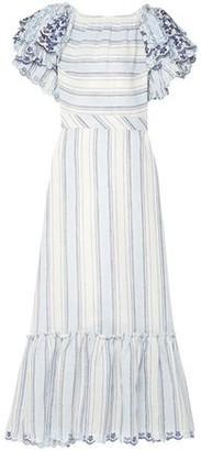 Gül Hürgel Broderie Anglaise-trimmed Ruffled Striped Linen Midi Dress