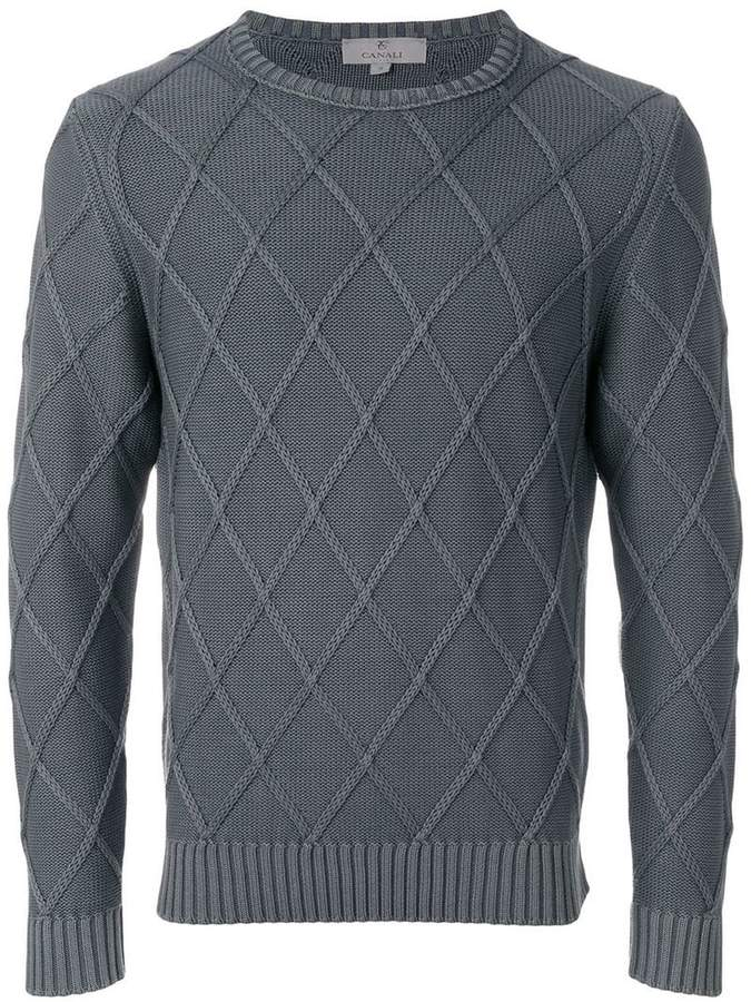 Canali textured diamond sweater