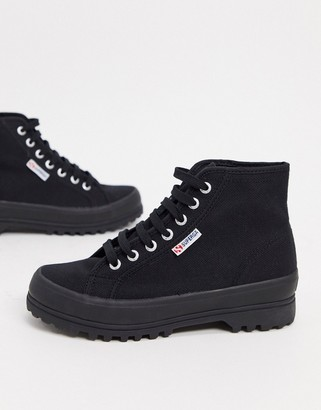 Superga 2341 Alpina flat ankle boots in black