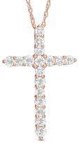 Zales 1/2 CT. T.W. Diamond Cross Pendant in 14K Rose Gold
