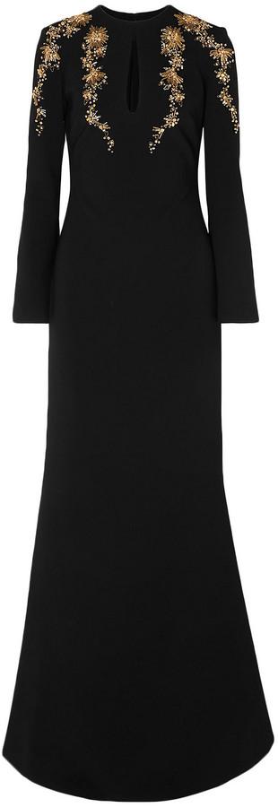 Reem Acra Embellished Crepe Gown