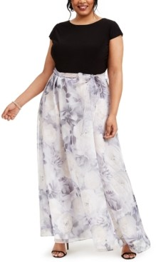 SL Fashions Plus Size Floral-Skirt Gown
