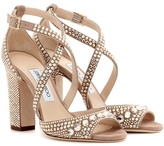Jimmy Choo Carrie 100 glitter-embellished leather sandals