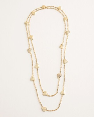 Chico's Chicos Long Goldtone Pave Heart Single-Strand Necklace