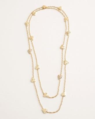 Chico's Long Goldtone Pave Heart Single-Strand Necklace