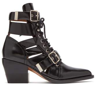 Chloé Rylee Cut-out Patent-leather Ankle Boots - Womens - Black
