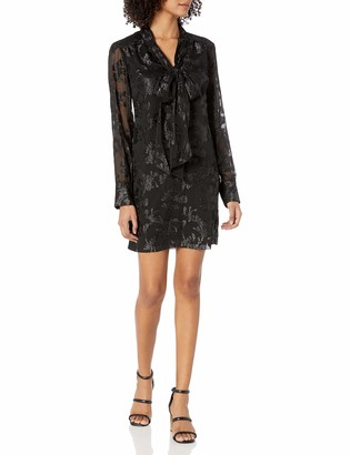Rachel Roy Women's Tie Nk Jacquard Chiffon Dress