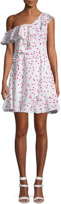 Lea & Viola Polka Dot One-Shoulder Ruffle Dress