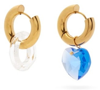 Timeless Pearly Mismatched Crystal-heart 24kt Gold-plated Earrings - Gold