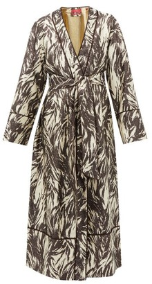 F.R.S For Restless Sleepers Nomos Zebra Stripe-jacquard Silk-blend Robe - Brown Multi