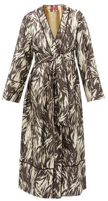 F.R.S For Restless Sleepers Nomos Zebra Stripe-jacquard Silk-blend Robe - Womens - Brown Multi