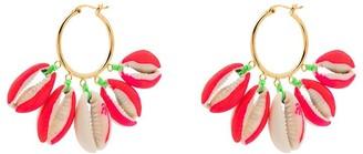 Venessa Arizaga Gold-Plated Palm Tree-Print Shell Earrings