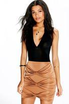Boohoo Mania Bow Front Slinky Mini Skirt