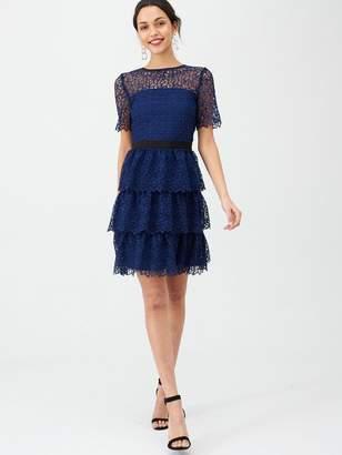 Very Layered Short Sleeve Skater Dress - Blue