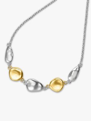 Dower & Hall Dower&Hall 18ct Gold Plated Sterling Silver Pebble Pendant Necklace, Gold/Silver
