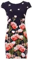 Wallis Petite Navy Floral Peony Border Shift Dress