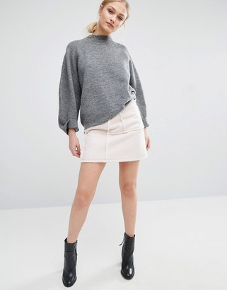 J.o.a. Faux Shearling Mini Skirt
