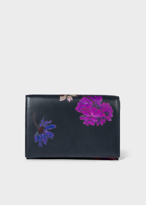 Women's Dark Navy 'Scattered Floral' Embossed Leather Medium Purse
