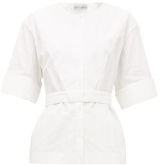 Palmer Harding Palmer//harding - Annie Collarless Jacquard-stripe Cotton Shirt - White