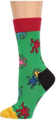 Happy Socks Keith Haring Dancing Sock (Green Multi) Women's Crew Cut Socks Shoes