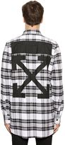 Off-White Off White Arrows Distressed Plaid Flannel Shirt