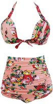 Sugarwewe Vintage print PLUS SIZE High Waist Bikini Set 2 Pieces M