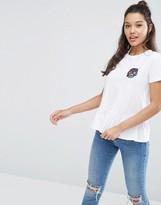 Asos T-Shirt With Pansy Badge And Ruffle Hem