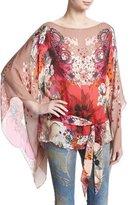 Roberto Cavalli Garden of Eden Floral-Print Chiffon Caftan Tunic, Pink/Red