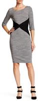 Sangria 3/4 Length Sleeve Colorblock Dress
