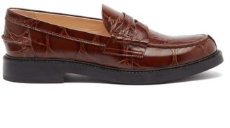 Tod's Crocodile-embossed Leather Loafers - Tan