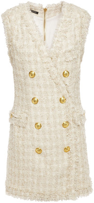 Balmain Button-embellished Boucle-tweed Mini Dress