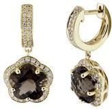 Effy Jewelry 14K Yellow Gold Smokey Quartz & Diamond Earrings