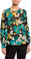 Calvin Klein Floral Poof-Sleeve Blouse
