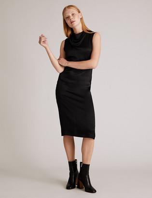 Marks and Spencer Satin Sleeveless Midi Waisted Dress