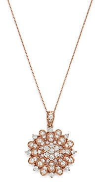 Bloomingdale's Diamond Flower Burst Pendant Necklace in 14K Rose Gold, 1.0 ct. t.w. - 100% Exclusive
