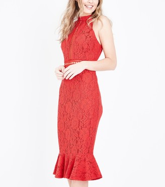 New Look Ladder Lace Peplum Hem Midi Dress