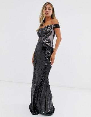 Lipsy embellished sequin bardot maxi dress-Black