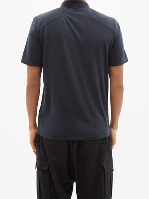 Veilance Frame Zipped Merino-wool Blend Jersey Polo Shirt - Navy
