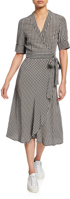 Ganni Gingham-Printed Elbow-Sleeve Crepe Wrap Dress