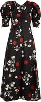Isa Arfen Wow Obliterated Blossom-print ruched cotton dress